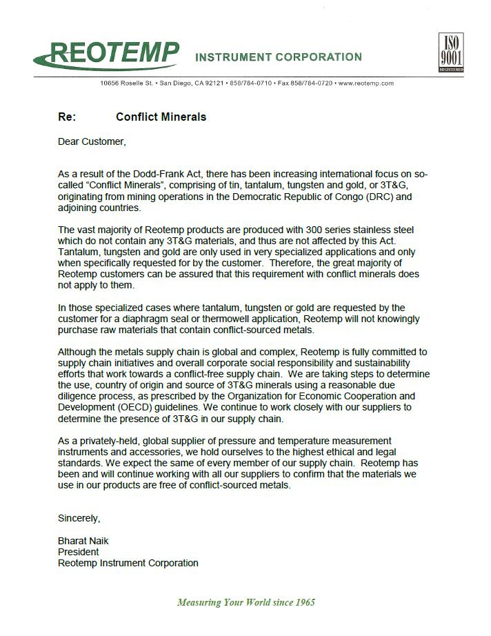 Conflict Minerals Compliance Letter